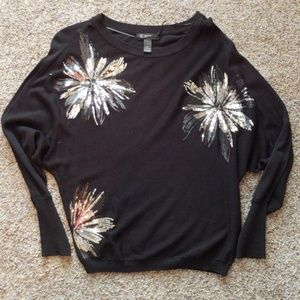 INC Black Sweater with Silver Sequins